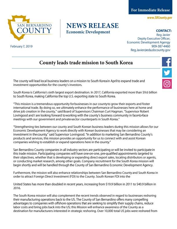 South Korea Trade Mission Press Release