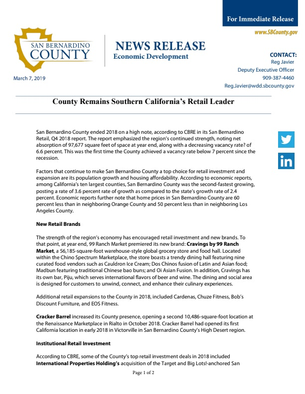 Press Release: County Remains Southern California's Retail Leader