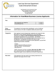 Informational Hotel/Motel business License Applications