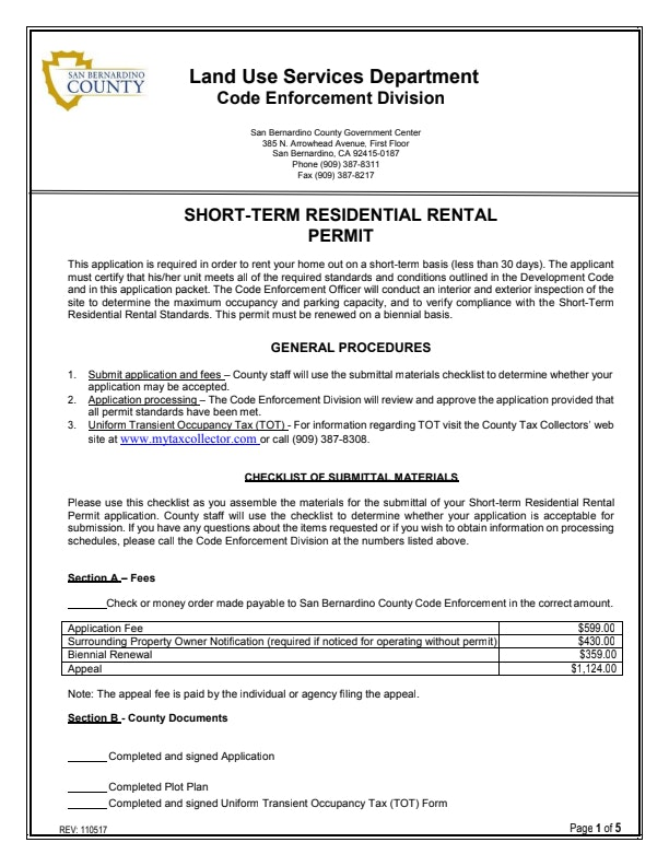 Short-Term Residential Rental Permit