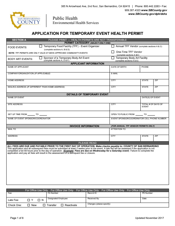 Application for Temporary Event Health Permit