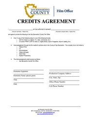San Bernardino County Credits Agreement