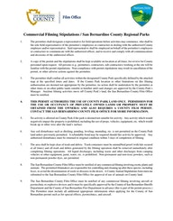San Bernardino County Stipulations for Regional Parks